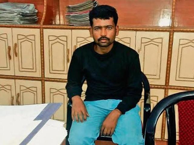 Ajay Kumar Choudhary, who allegedly threatened to 'eliminate' chief minister Nitish Kumar, is detained at Pandaul in Madhubani on Thursday.