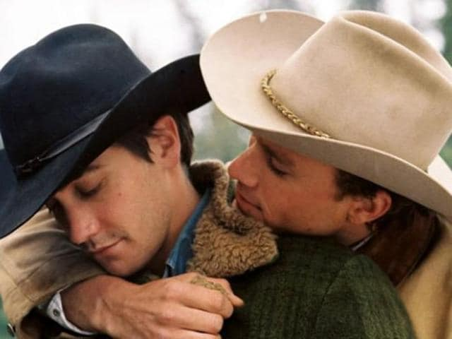Jake Gyllenhaal and Heath Ledger in Brokeback Mountain.
