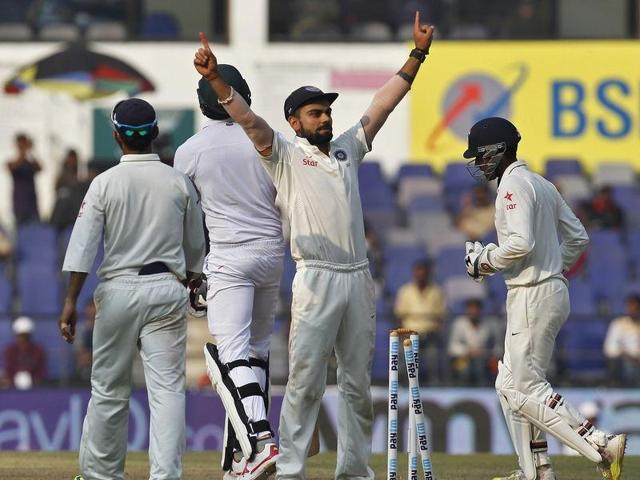 India's captain Virat Kohli celebrates after their win over South Africa on the third day of their third test cricket match in Nagpur.