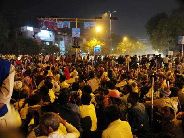 Heavy traffic jam was witnessed at Board Office Square as Dalits and tribals staged a protest in Bhopal on Thursday.