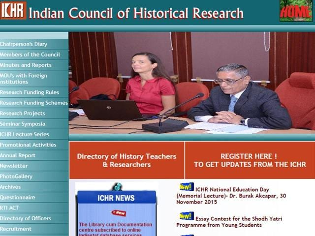 A screenshot of the homepage of the ICHR website.