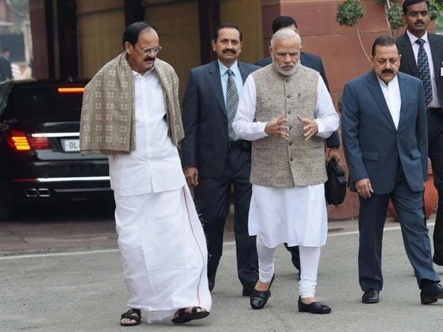 Prime Minster Narendra Modi, Union parliamentary affairs minister M Venkaiah Naidu and MoS for PMO Jitendra Singh arrive to address the media at Parliament House on the opening day of winter session.
