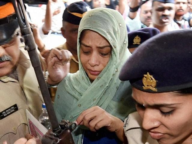 Indrani Mukerjea after being produced by the CBI at the Esplanade court in Mumbai.