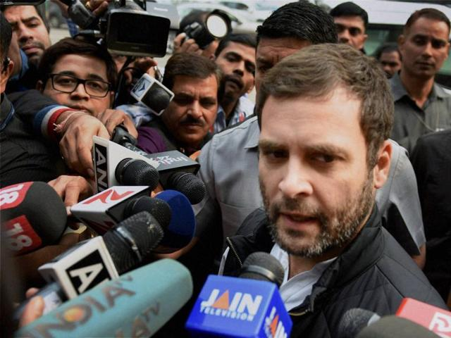Congress vice-president Rahul Gandhi addresses the media during the winter session of Parliament.