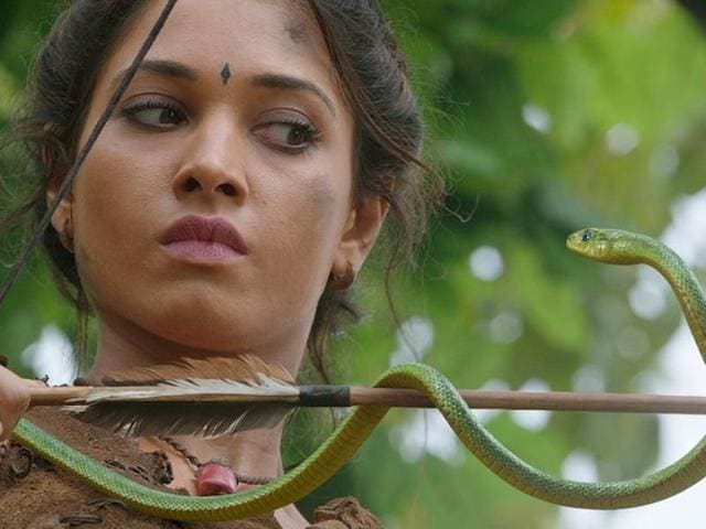 Tamannah with a CGI snake in a still from the movie.