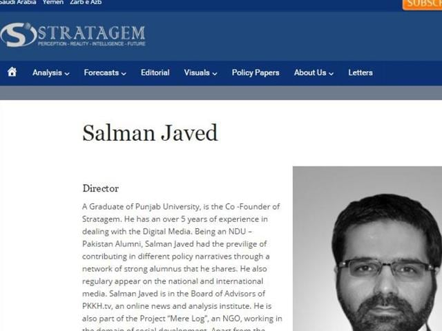 Malik Salman Javed, director of the recently formed Stratagem magazine is a graduate of the National Defence University's (NDU) national security workshop. Javed, who on his website writes that he is a NDU-Pakistan alumni, has been posting pro-JuD content on Twitter for the past several years. A screengrab from the Stratagem website's page on Javed.
