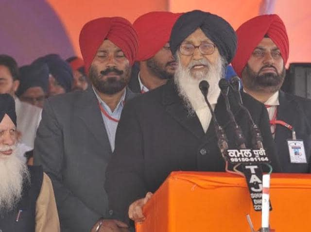 Chief minister Parkash Singh Badal