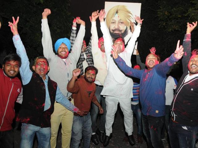 Congress workers in a jubilant mood after Captain Amarinder Singh was appointed PPCC chief, in Patiala on Friday.