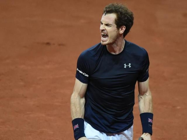 Britain's Andy Murray reacts after winning a point against Belgium's Ruben Bemelmans during their Davis Cup tennis match at the Flanders Expo in Ghent, Belgium.