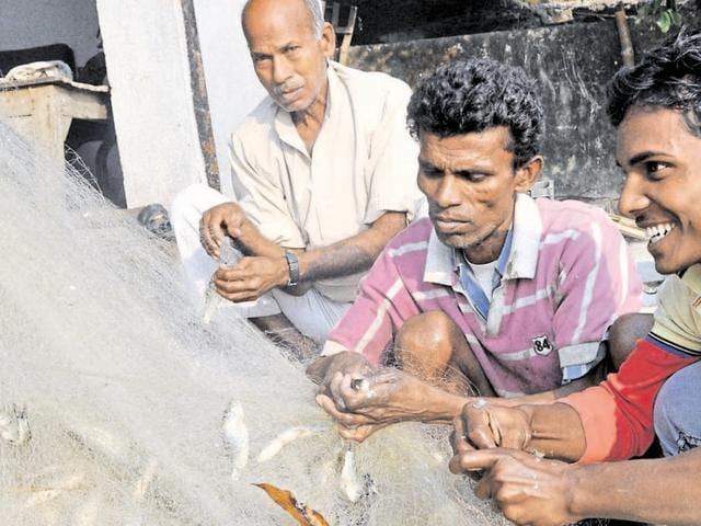 Fishermen taking out small fish from a net in Dhanbad on Friday.