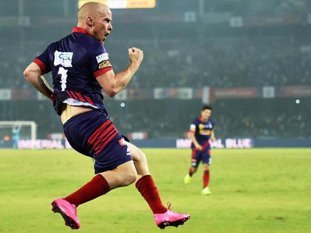 Iain Hume scored his second hat-trick of the season to help Atletico de Kolkata become the first team to enter the semis of ISL Season 2.