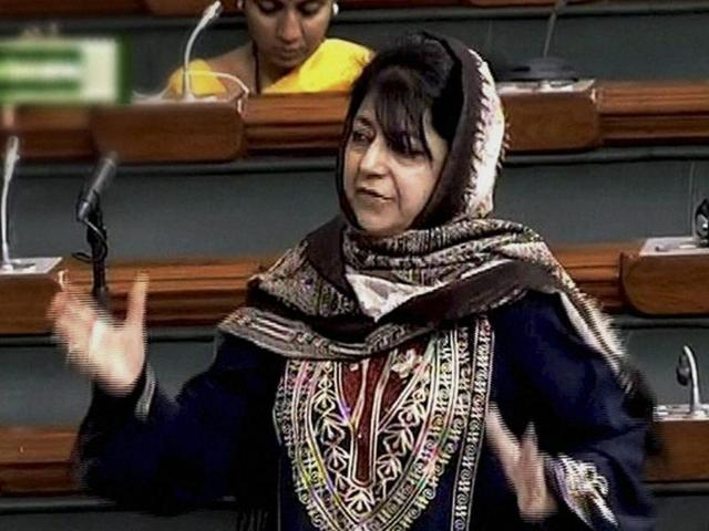 Peoples Democratic Party (PDP) MP, Mehbooba Mufti speaks in Lok Sabha during the second day of winter session of Parliament in New Delhi.