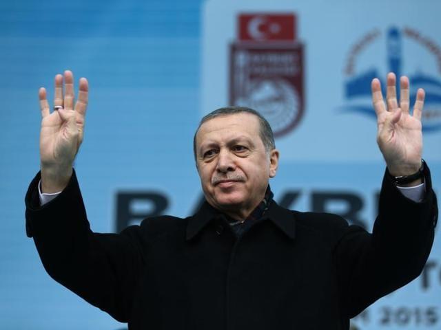 Turkey's President Recep Tayyip Erdogan addresses a rally in Bayburt, Turkey.