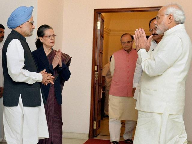 PM Narendra Modi met former prime minister Manmohan Singh and Congress president Sonia Gandhi at 7, Race Course Road in New Delhi on Friday. Congress leaders on Saturday said they want to take the negotiations on GST Bill forward.