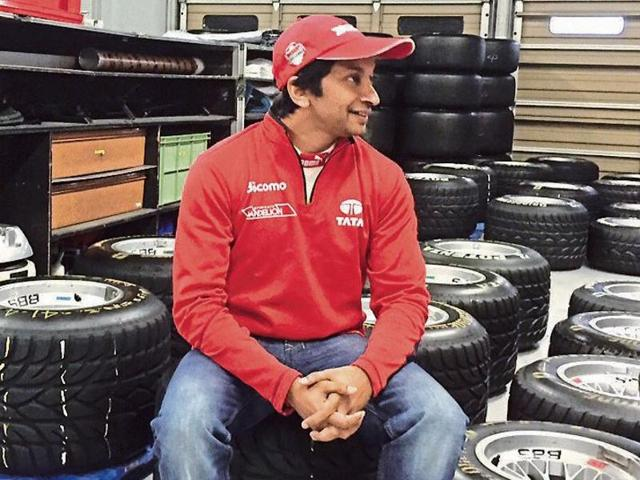 Narain Kartikeyan between races at the finale of the Japanese Super Formula at the Suzuka circuit on November 8.