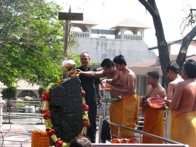 The temple dedicated to 'Shani' is located at Shingnapur, a town of 4,000 in Ahmednagar district and around 330 km northeast of Mumbai, where no house has doors but only the frames as entrances.(HT File Photo)