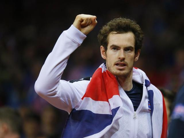 Great Britain's Andy Murray celebrates after beating Belgium's David Goffin to win the Davis Cup.