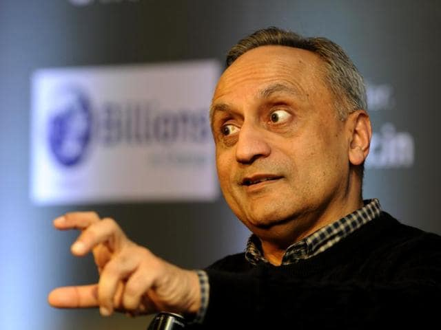 Philonthropist Manoj Bhargava launches electricity generating stationary bicycle in New Delhi on Friday.