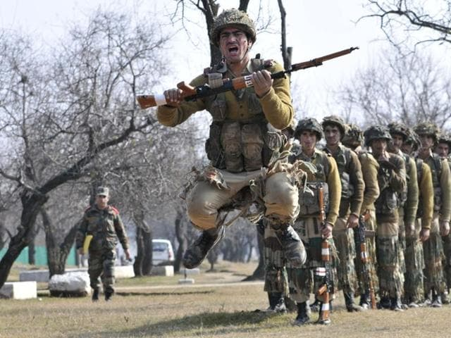New recruits of the Jammu and Kashmir Light Infantry (JAKLI) training at an army base on the outskirts of Srinagar.