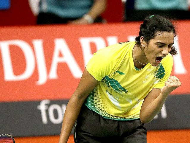 A file picture of PVSindhu celebrating a point against China's Li Xuerei during their women's singles match at the BWFWorld Badminton Championships in Jakarta, Indonesia, on August 13,2015.