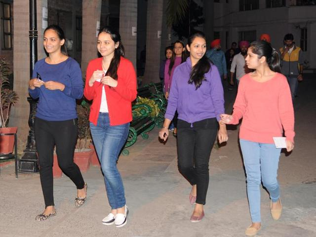 Students coming out after appearing in Common Admission Test (CAT) exam in SAS Nagar on Sunday.