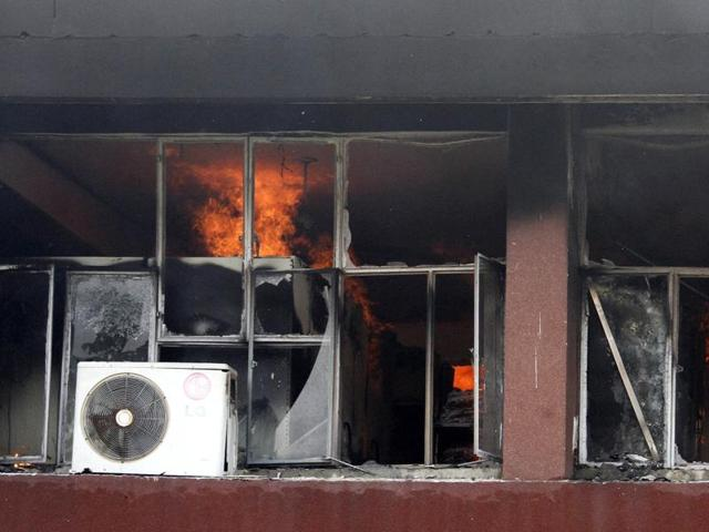 A major fire broke out at the income tax head office in Rishi Nagar, Ludhiana, on Sunday.