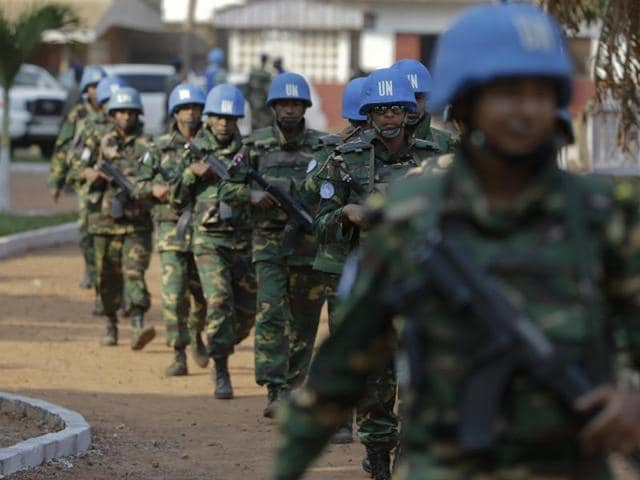 UN peacekeeping soldiers from Bangladesh arrive at the evangelical theological school dof Bangui, Central African Republic, prior to Pope Francis' visit  Sunday.