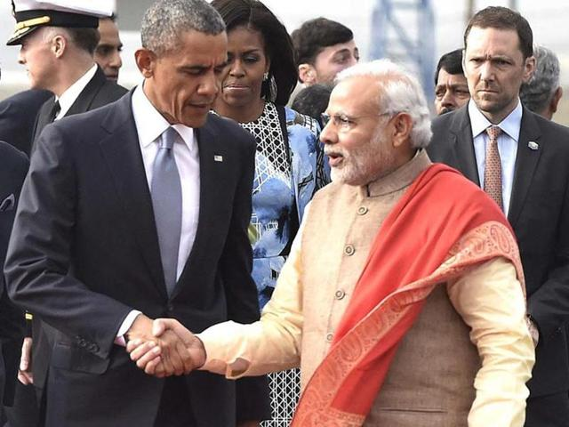Prime Minister Narendra Modi receives US President Barack Obama at the Palam airport, in New Delhi. Modi and Obama will be meeting in Paris on Monday, on the sidelines of the climate change summit.