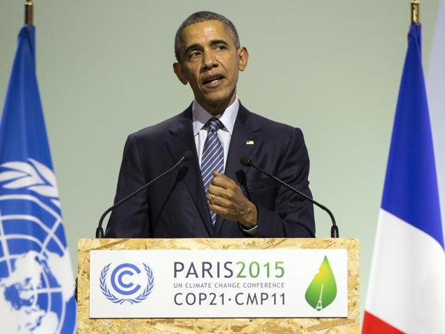 President Barack Obama speaks at the COP21, United Nations Climate Change Conference in Le Bourget near Paris on Monday.