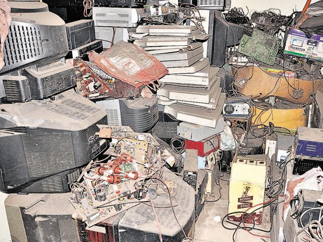 E-waste dumped at a recycling centre in Dhanbad.