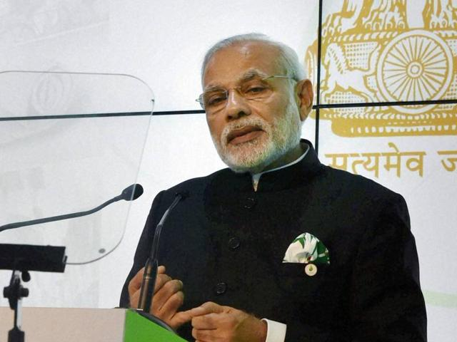Prime Minister Narendra Modi speaks during inauguration of the India Pavilion at the COP21, United Nations Climate Change Conference in Le Bourget near Paris on Monday(PTI)