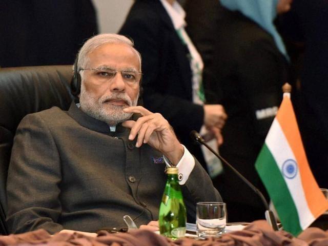 Prime Minister Narendra Modi at the 13th ASEAN summit in Kuala Lumpur, Malaysia.