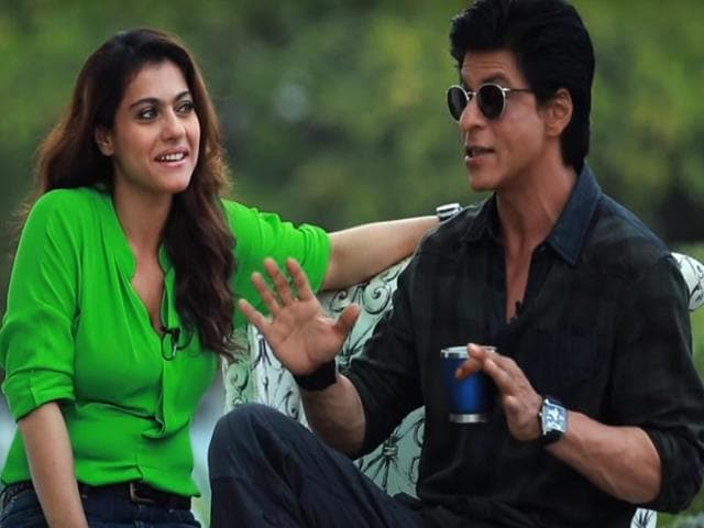 Shah Rukh Khan and Kajol in a still from the Making of Gerua.