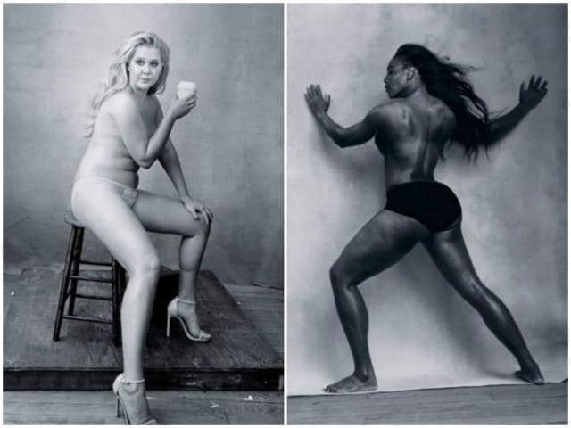 Amy Schumer and Serena Williams appeared nude for the Pirelli 2016 Calendar, shot by Annie Leibovitz.