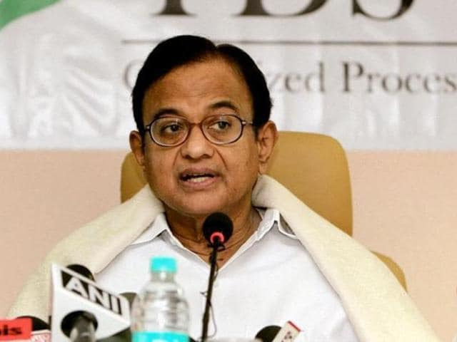 """File photo of former Union minister P Chidambaram.  He accused the Centre of launching a """"malicious onslaught""""on his family following ITraids on business associates of his son  Karti."""