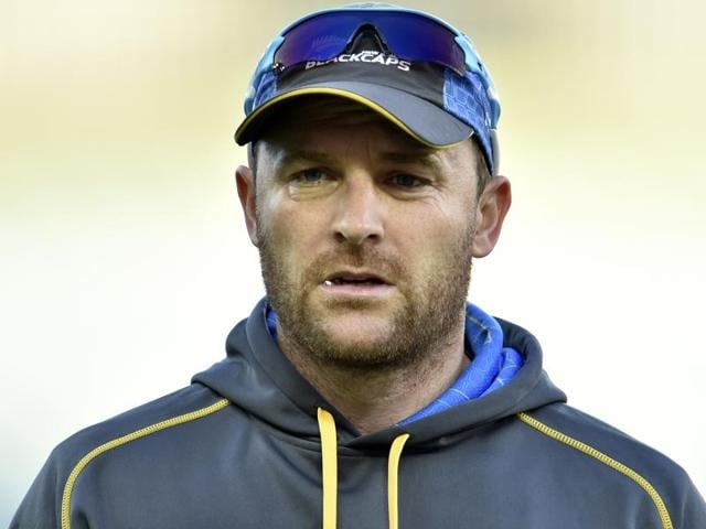 New Zealand captain Brendon McCullum inspects the ball during the fourth day of the second cricket test match against Australia at the WACA ground in Perth, Western Australia, November 16, 2015.
