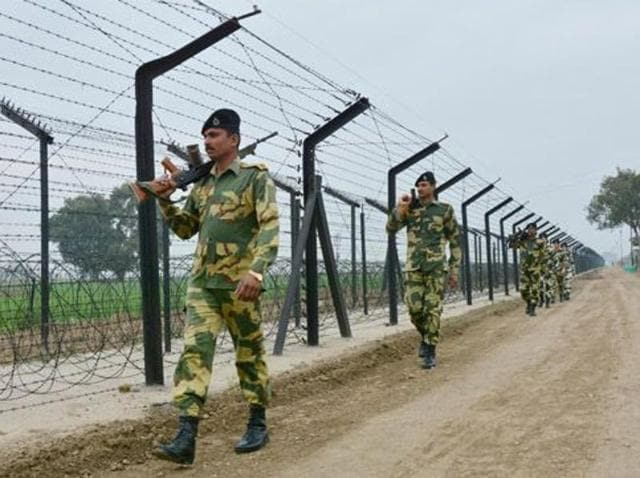 """BSF jawans patrolling along the Indo-Pak international border in Amritsar. The BSF has said it is probing the case of a """"black sheep"""" within its ranks who was allegedly involved in a suspected espionage racket linked to Pakistani spy agency ISI."""