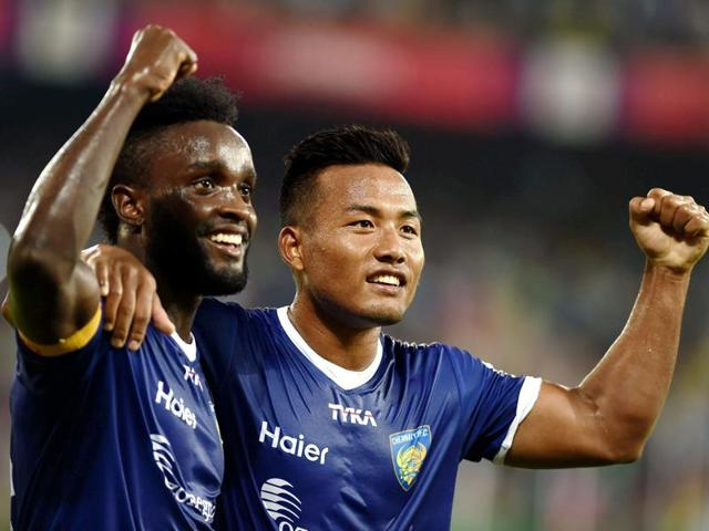 Chennaiyin FC's Steven Mendoza and Jeje Lalpekhula celebrating after score a goal against Delhi Dynamos FC during the match at Jawaharlal Nehru Stadium in Chennai on November 24, 2015.