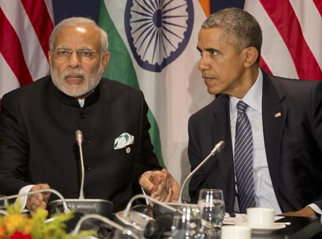 PM Narendra Modi and US President Barack Obama at a meeting during the summit in Paris.