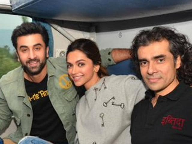 Imtiaz Ali poses with Ranbir Kapoor and Deepika Padukone during the promotions for Tamasha.