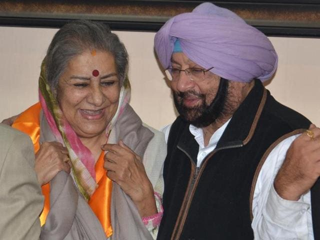 Newly-appointed Punjab Congress President and MP Captain Amarinder Singh and chairperson of the Congress Campaign Committee Ambika Soni during in Amritsar on Wednesday.
