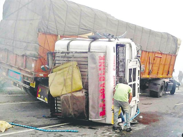 The mangled remains of the private bus that rammed into a truck in a series of collisions that took place at Kathunangal on Wednesday morning in Amritsar.