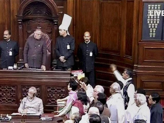 Opposition members protesting in Rajya Sabha during the winter session of Parliament on Wednesday.