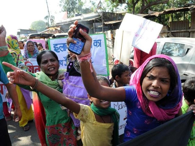 Bhopal Gas Tragedy survivors took out a rally on the  31st anniversary of the disaster, in Bhopal on Thursday.