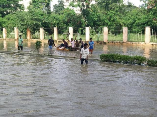 An inundated road outside Chennai's fire control room.