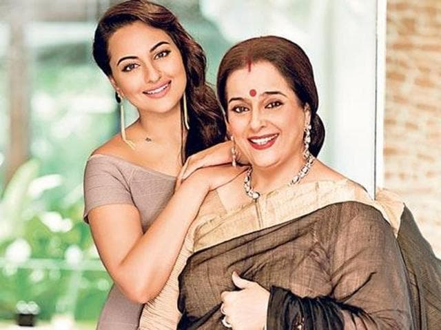 Actor Sonakshi with her mother Poonam Sinha. (HT)