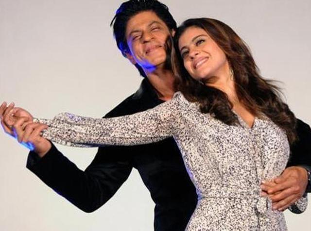 Shah Rukh Khan and Kajol Devgn at a music launch event in Mumbai. (AFP)