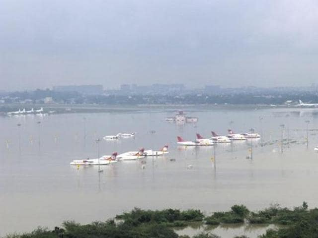 An aerial view shows the submerged airport in Chennai in this handout photo taken on December 2, 2015 and released by the Press Information Bureau.