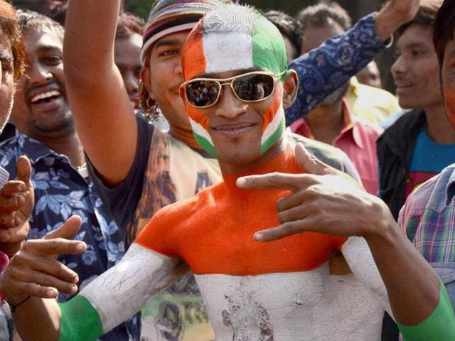 Congress candidates celebrate their victory in Municipal elections along with their supporters in Ahmedabad on Wednesday.