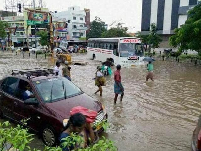 A flooded locality in Puducherry after heavy rains on December 1.